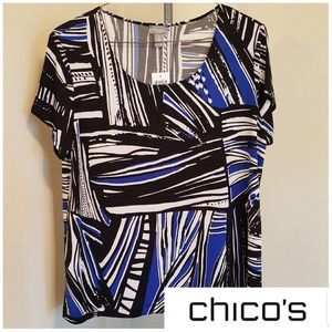 NWT Mixed Up Striped Blouse Travelers By Chico's